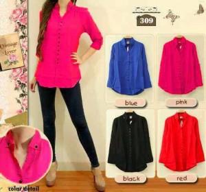 Blouse Color Top Baju Cewek