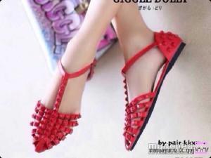 Grosir Flat Shoes Studded / Sepatu Studded Studd Merah Myn35 Murah