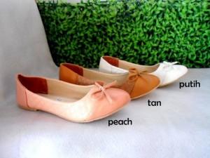 Flat shoes Ribbon Opp38 Sepatu Cewek Orange Pink Putih Flat Sepatu Pita