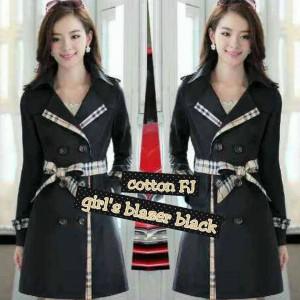 Girls Blazer Black Cewek Fashionable
