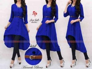 Dress Cewek Muslim Hanna Long Blouse Blue Belt Beautiful