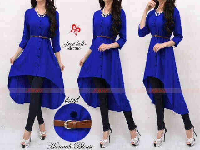 Dijual Hanna Long Blouse Blue+Belt Murah Image 1