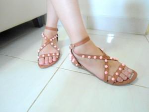 Diskon Flat Sandal Studded BO21 Terbaru Warna Coklat