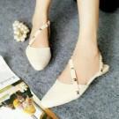 Flat Shoes Sepatu Cewek MYN33 Studd Putih & Peach