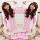 Jaket Cewek Beautiful Fleece Pink Ribbon Rabbit