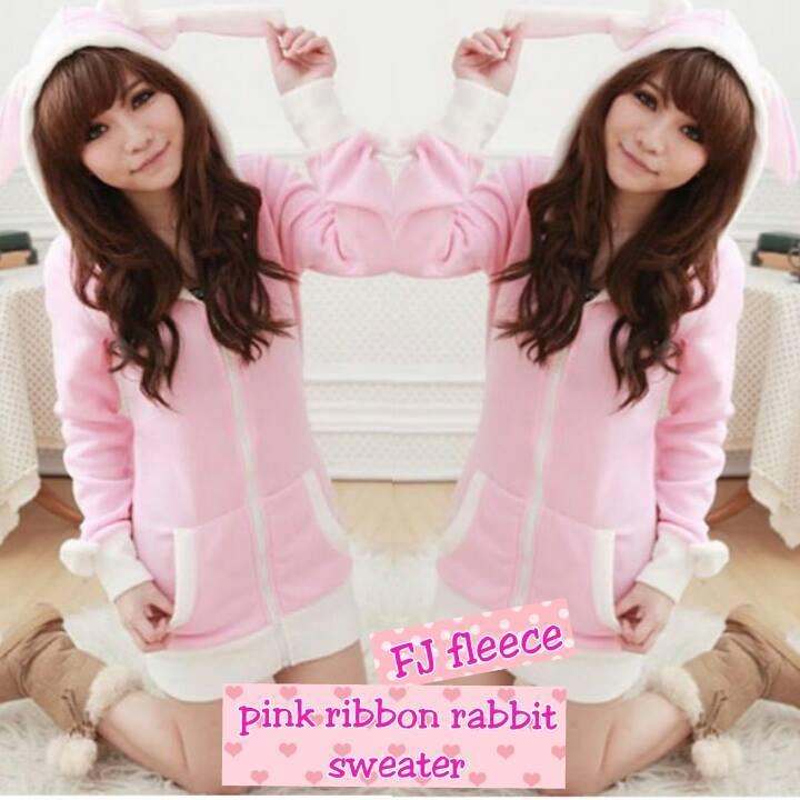Diskon Fleece Pink Ribbon Rabbit Ecer Image 1