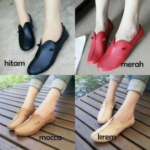 Flat Shoes MYN27 sepatu flat kulit imitasi Hitam,Merah,Coklat,Cream