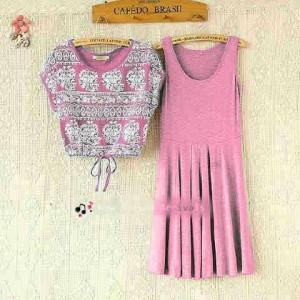 Blouse Trend Cewek New Dress Harajuku Pink