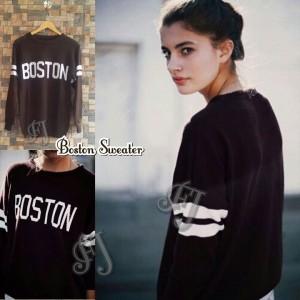 Atasan Cewek Boston Sweater Rajut Hitam