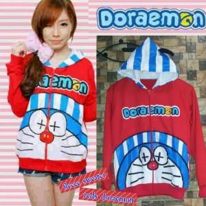 Jaket Cewek Trendy Fleece Sweater Red Doraemon