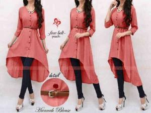 Dress Cewek Muslim Hanna Long Blouse Peach Belt Beautiful
