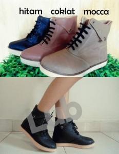 Boots Adele Sepatu Cewek Variasi Warna Hitam Coklat Mocca