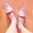 Flat Shoes NF02 sepatu flat sintetis glossy hitam putih cream cokelat