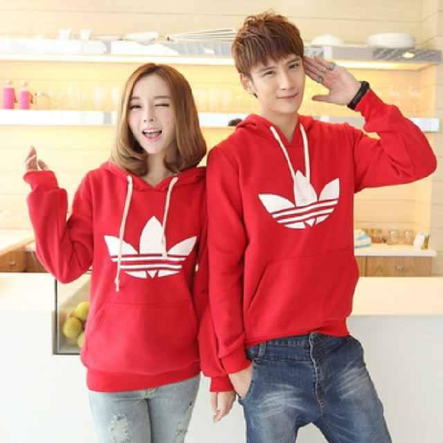 Kulakan Couple Sweater Adidas Red Ecer Gambar 1