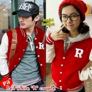 Red White R Couple Remaja Trendy Gaul