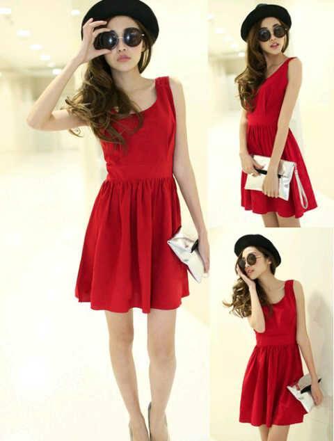 Kulakan Simply Nowela Dress Red Grosir Gambar 1
