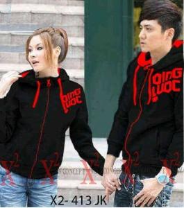 Couple Qingluoc Black Jaket Remaja Trendy