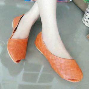 Promo Flat Shoes Daun SB02 Paling Murah Warna Orange