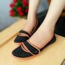 Flat Shoes Sepatu Cewek HR01 Hitam dan Orange