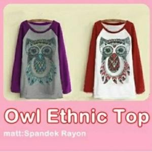 Owl Ethnic Top Baju Atasan Cewek Spandex Rayon