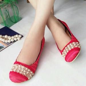 Pusat Flat Shoes Mutiara LKY38 Paling Murah Warna Merah