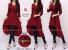 Dress Cewek Muslim Hanna Long Blouse Marroon Belt Beautiful