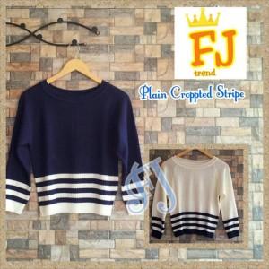 Atasan Cewek Plain Cropped Stripes Sweter Trendy