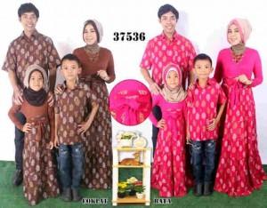 37536 Couple Family Trendy Ibu Ayah 2 Anak Coksu Fanta Coklat Pink