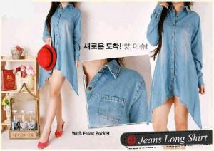 Asymetric Long Jeans Shirt