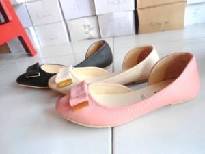 Flat Shoes Sepatu cewek OP03 Peach, Hitam, Cream