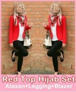 Red Top Hijab Set Baju Muslim Cantik