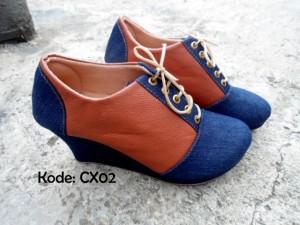 Boots Wedges CX02 Sepatu Cewek Trendy Casual