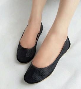 Supplier Flat Shoes Jaring Hitam LKY37 Asli