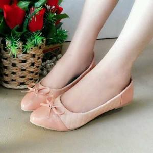 Flat shoes Ribbon Opp38  Flat Sepatu Pita Cream